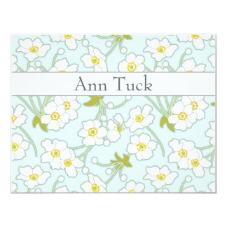 Personalized Flat Note Cards - Japanese Anenomes b 11 Cm X 14 Cm Invitation Card