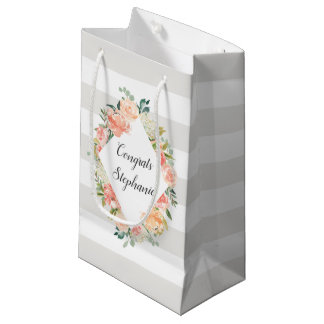 Personalized Floral and Stripes Pattern Small Gift Bag