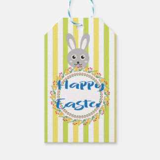 Happy easter tag craft supplies zazzle personalized floral bunny easter gift tags negle Images