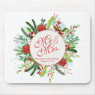 Personalized Floral Christmas Wedding | Mousepad