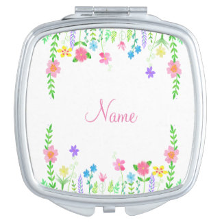Personalized Floral Compact Mirror