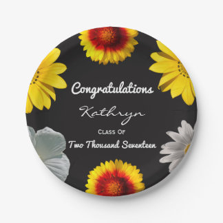 Personalized Floral Graduation Paper Plate