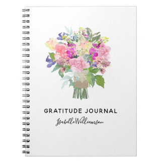 Personalized Floral Gratitude Journal