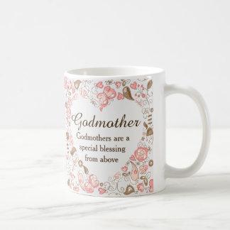 Personalized Floral Heart Godmother Basic White Mug