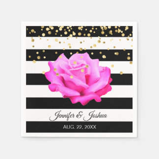 Personalized Floral Hot Pink Rose Gold Wedding Paper Serviettes