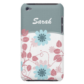 personalized floral ivory aqua Case-Mate iPod touch case