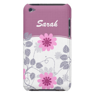 personalized floral ivory pink barely there iPod covers