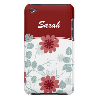 personalized floral ivory red iPod touch covers