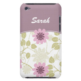 personalized floral ivory violet iPod Case-Mate cases