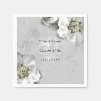 Personalized Floral Marble Silver Gray White Disposable Napkin