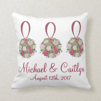 Personalized Floral Rose Bouquet Wedding Pillow