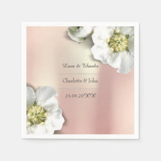 Personalized Floral Rose Gold Metallic White Disposable Serviette