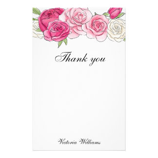 Personalized Floral Rose Thank You Stationery