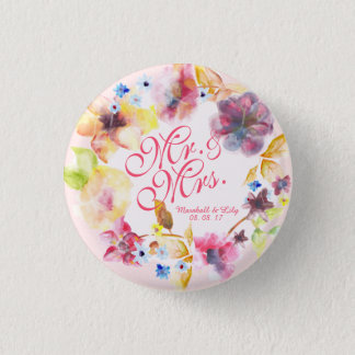 Personalized Floral Spring Wedding Pin Button