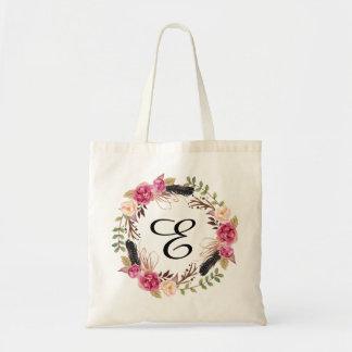 Personalized Floral Tote Bag Bridesmaid Bohemian
