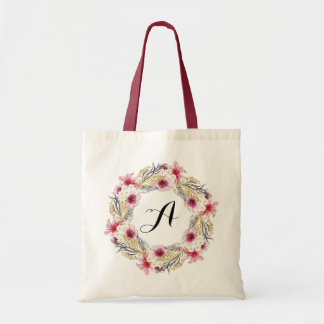Personalized Floral Tote Bag. Wreath Tote