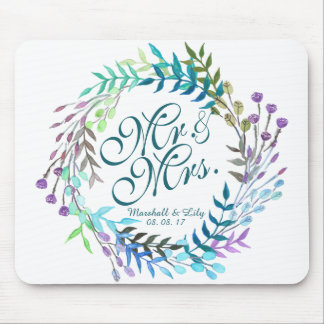 Personalized Floral Watercolor Wedding   Mousepad