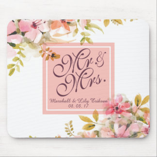 Personalized Floral Watercolor Wedding | Mousepad
