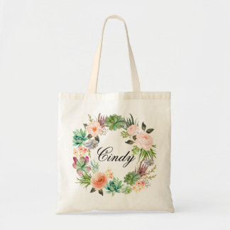 Personalized Floral Wreath Braidsmaid,Welcome Budget Tote Bag