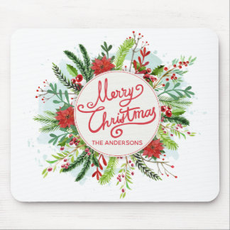Personalized Floral Wreath Christmas | Mousepad
