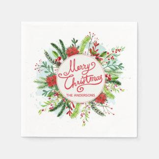 Personalized Floral Wreath Christmas | Napkin Paper Serviettes