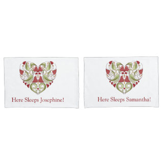 Personalized Flourish Heart Pillow Cases