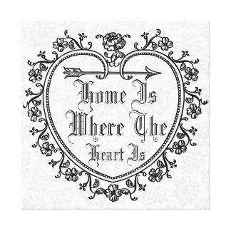 Personalized flourish heart quote canvas print