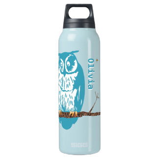 Personalized Flower Cute Owls Moon Stars Insulated Water Bottle