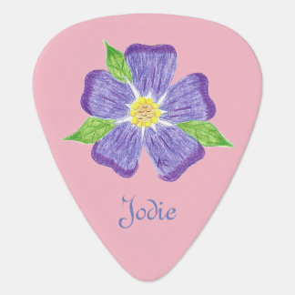 Personalized flower pink guitar pick