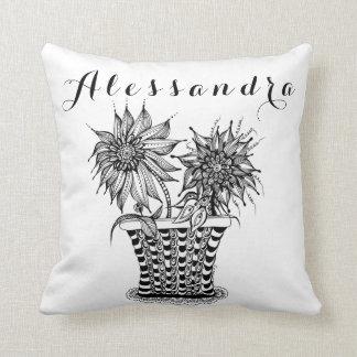 Personalized Flower Pot Doodle art Throw Pillow