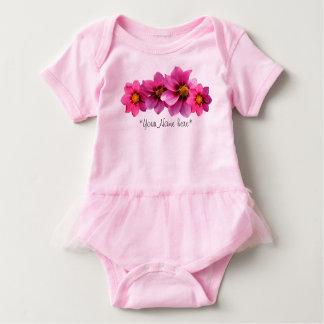 Personalized Flower Print Baby Girl Tutu bodysuit