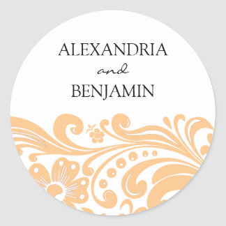 Personalized Flower Scroll Round Stickers