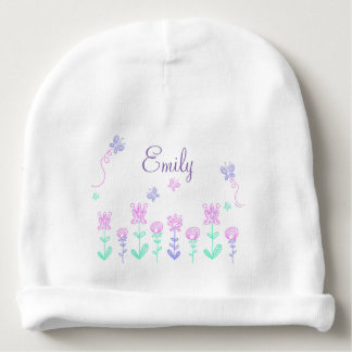 Personalized flowers and name Baby Girl Cap Baby Beanie