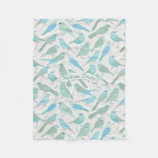Personalized Folk Art Blue and Mint Bird Pattern Fleece Blanket