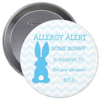 Personalized Food Allergy Alert Easter Bunny Blue 10 Cm Round Badge