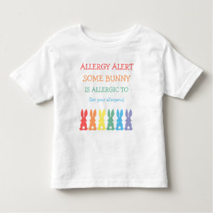 e6fc9083 Personalized Food Allergy Alert Easter Bunny Toddler T-Shirt