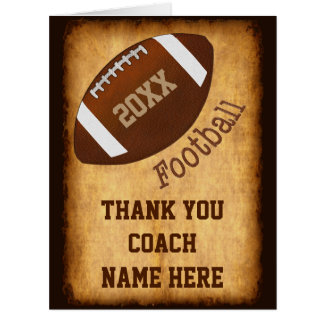 Personalized Football Coach Card, Player's NAMES Card