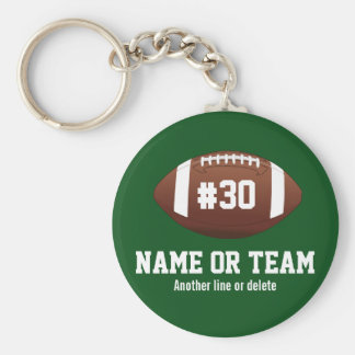 Personalized Football Design Name, Number, Team Key Ring