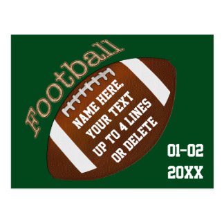 Personalized Football Party Invites any COLOR TEXT Postcard