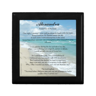 Personalized Footprints in the Sand Prayer Box Small Square Gift Box