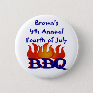 Personalized Fourth of July BBQ Party Button