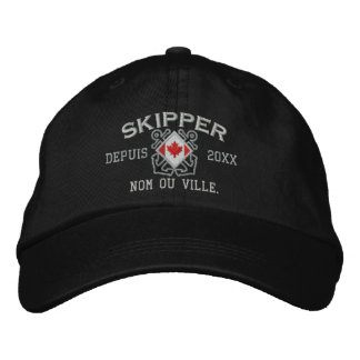 Personalized French Canadian Skipper Nautical Embroidered Hats