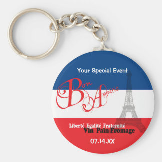 Personalized French Flag Eiffel Tower Bon Appetit Basic Round Button Key Ring