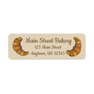 Personalized French Pastry Croissant Bakery Chef Return Address Label