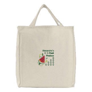 Personalized Fresh Produce with Watermelon Embroidered Tote Bag