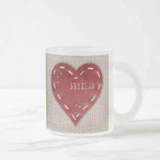 Personalized Frosted Glass Mug with Leather Heart