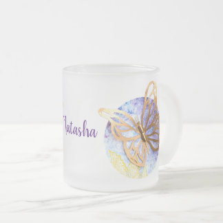 Personalized Frosted Mug with Butterflies