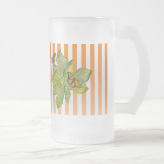 Personalized Frosted Mug with Butterflies & Leaves