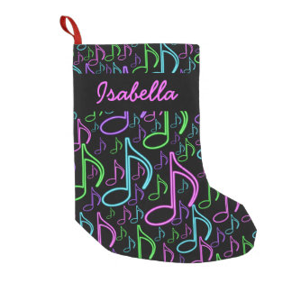 Personalized Fun Bright Neon Music Note Collage Small Christmas Stocking