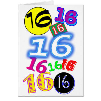 Personalized Fun Colorful Happy 16th Birthday Card